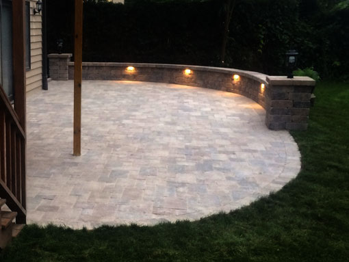 Patio with Seating Wall and Integral Lighting